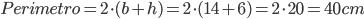 Perimetro=2\cdot(b+h)=2\cdot(14+6)=2\cdot20=40cm