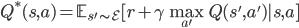 Q^*(s,a)=\mathbb{E}_{s'\sim \mathcal{E}}[r+\gamma \max_{a'}Q(s',a')|s,a]