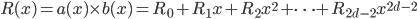 R(x) = a(x) \times b(x) = R_0 + R_1 x + R_2 x^2 + \dots + R_{2d-2} x^{2d-2}