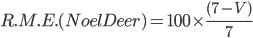 R.M.E.(Noel Deer) = 100\times\frac{(7-V)}{7}