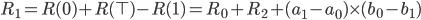 R_1 = R(0) + R(\top) - R(1) = R_0 + R_2 + (a_1 - a_0) \times (b_0 - b_1)