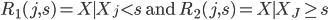 R_1(j,s)={X\mid X_j \lt s} \mbox{ and } R_2(j,s)={X\mid X_J \geq s}