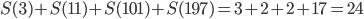 S(3)+S(11)+S(101)+S(197) = 3+2+2+17 = 24