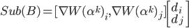 Sub(B)=[\nabla W(\alpha^k)_i,\nabla W(\alpha^k)_j]  \left[ d_i\\ d_j \right]