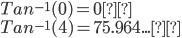 Tan^{-1}(0)=0° \\ Tan^{-1}(4)=75.964...°