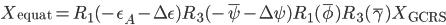 X_{\mathrm{equat}} = R_1(-\epsilon_A - \Delta \epsilon) R_3(-\bar{\psi} - \Delta \psi) R_1(\bar{\phi}) R_3(\bar{\gamma}) X_{\mathrm{GCRS}}