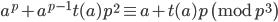 a^p+a^{p-1}t(a)p^2 \equiv a+t(a)p \pmod{p^3}