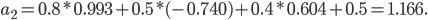 a_2 = 0.8*0.993 + 0.5* (-0.740) + 0.4 * 0.604 + 0.5 = 1.166.