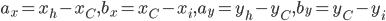 a_x = x_{h} - x_C, b_x = x_C - x_i, a_y = y_{h} - y_C, b_y = y_C - y_i