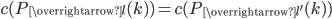 c(P_{\overrightarrow{l{ }}}(k) ) = c(P_{\overrightarrow{l'}}(k) )