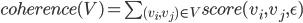 coherence(V)=\sum_{(v_i, v_j)\in V}score(v_i, v_j, \epsilon)