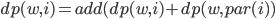 dp(w,i)=add(dp(w,i)+dp(w,par(i))