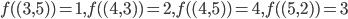 f( (3, 5) ) = 1, f( (4, 3) ) = 2, f( (4, 5) ) = 4, f( (5, 2) ) = 3