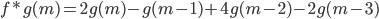 f*g(m)=2g(m)-g(m-1)+4g(m-2)-2g(m-3)