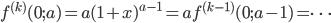 f^{(k)}(0 ; a) = a (1+x)^{a-1} = a f^{(k-1)}(0 ; a - 1) = \dots
