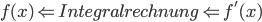 f(x) \Leftarrow Integralrechnung \Leftarrow f'(x)