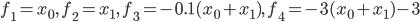 f_1=x_0,\,\,f_2=x_1,\,\,f_3=-0.1(x_0+x_1),\,\,f_4=-3(x_0+x_1)-3