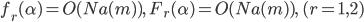 f_r(\alpha ) = O(Na(m)), \quad F_r(\alpha) = O(Na(m)), \quad (r=1, 2)