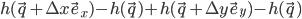 h(\vec~q+\Delta~x\vec~e_x)-h(\vec~q)+h(\vec~q+\Delta~y\vec~e_y)-h(\vec~q)
