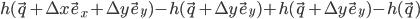 h(\vec~q+\Delta~x\vec~e_x+\Delta~y\vec~e_y)-h(\vec~q+\Delta~y\vec~e_y)+h(\vec~q+\Delta~y\vec~e_y)-h(\vec~q)