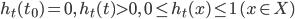 h_t(t_0)=0, \ h_t(t) > 0, \ 0 \leq h_t(x) \leq 1 \ (x \in X)
