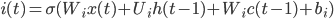 i(t)=\sigma(W_ix(t)+U_ih(t-1)+W_ic(t-1)+b_i)