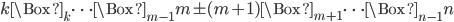 k\Box_k\cdots\Box_{m-1}m\pm(m+1)\Box_{m+1}\cdots\Box_{n-1}n