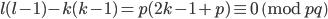 l(l-1)-k(k-1) = p(2k-1+p) \equiv 0 \pmod{pq}