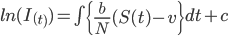 ln(I_(_t_))= \int \left \{ \frac{b}{N} (S(t) - v \right \}dt +c