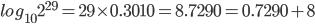 log_{10}2^{29} = 29 \times 0.3010 = 8.7290 = 0.7290 + 8