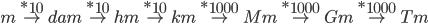 m\overset{*10}{\rightarrow}dam\overset{*10}{\rightarrow}hm\overset{*10}{\rightarrow}km\overset{*1000}{\rightarrow}Mm\overset{*1000}{\rightarrow}Gm\overset{*1000}{\rightarrow}Tm