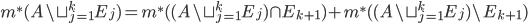 m^{*}(A \setminus \sqcup_{j=1}^{k}E_{j})=m^{*}((A \setminus \sqcup_{j=1}^{k}E_{j} )\cap E_{k+1})+m^{*}((A \setminus \sqcup_{j=1}^{k}E_{j}) \setminus E_{k+1})