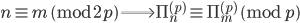 n \equiv m \pmod{2p} \Longrightarrow \Pi_{n}^{(p)} \equiv \Pi_{m}^{(p)} \pmod{p}