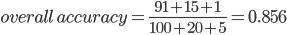 overall\,accuracy = \frac{91+15+1}{100+20+5} = 0.856