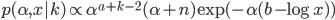 p(\alpha, x| k) \propto \alpha^{a + k - 2} (\alpha + n) \exp{(- \alpha(b - \log{x}))}