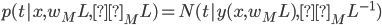 p(t|x,w_ML,β_ML)=N(t|y(x,w_ML),{β_ML}^{-1})