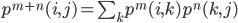 p^{m+n}(i,j) = \sum_k p^m(i,k)p^n(k,j)