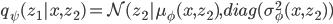 q_\psi (z_1|x,z_2) = \mathcal{N} (z_2 | \mu_\phi(x,z_2),diag(\sigma_\phi^2(x,z_2))