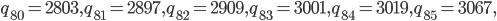 q_{80}=2803, q_{81}=2897, q_{82}=2909, q_{83}=3001, q_{84}=3019, q_{85}=3067,