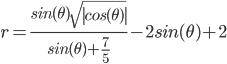 r=\frac{sin(\theta)  \sqrt{\left| cos(\theta) \right| }}{sin(\theta) + \frac{7}{5} } -2 sin(\theta) + 2