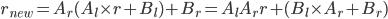 r_{new} = A_r ( A_l \times r + B_l ) + B_r = A_l A_r r + (B_l \times A_r + B_r)