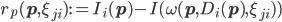 r_{p}({\bf p}, \xi_{ji}):=I_{i}({\bf p}) - I(\omega({\bf p}, D_{i}({\bf p}), \xi_{ji}))