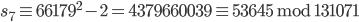 s_7 \equiv 66179 ^ 2 - 2 = 4379660039 \equiv 53645 \;\mathrm{mod}\; 131071