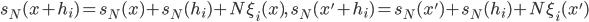 s_N(x+h_i)=s_N(x)+s_N(h_i)+N\xi_i(x),\quad s_N(x'+h_i)=s_N(x')+s_N(h_i)+N\xi_i(x')