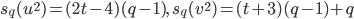 s_q(u^2) = (2t-4)(q-1), \quad s_q(v^2) = (t+3)(q-1)+q