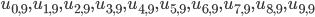 u_{0,9}, u_{1,9}, u_{2,9}, u_{3,9}, u_{4,9}, u_{5, 9}, u_{6,9}, u_{7,9}, u_{8,9}, u_{9,9}