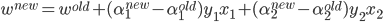 w^{new}=w^{old}+(\alpha_1^{new}-\alpha_1^{old})y_1x_1 +(\alpha_2^{new}-\alpha_2^{old})y_2x_2
