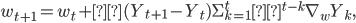 w_{t+1}=w_t+α(Y_{t+1}-Y_t){\displaystyle \Sigma^t_{k=1}λ^{t-k}\nabla_w Y_k},