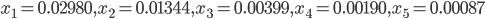 x_1=0.02980,x_2=0.01344,x_3=0.00399,x_4=0.00190,x_5=0.00087