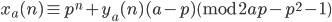 x_a(n) \equiv p^n + y_a(n)(a-p) \pmod{2ap-p^2-1}